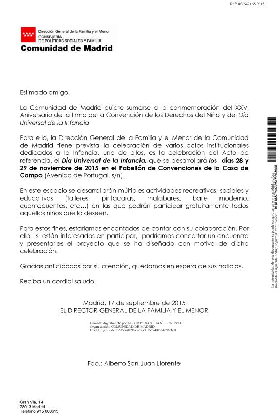 carta comunidad de Madrid dia universal de la infancia